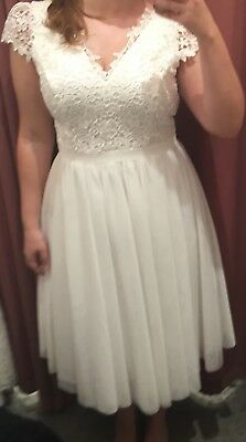 Review Romance Collection Wedding Dress size 12 ivory white tulle lace