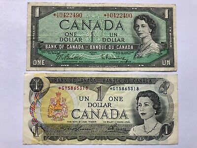 Duo Canada 🇨🇦 1954 & 1973 $1.00 BILL, REPLACEMENT NOTES