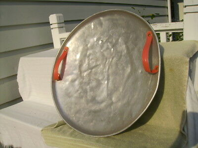 vintage round aluminum metal circle flying saucer snow sled