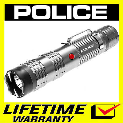 POLICE Stun Gun M12 Metal Rechargeable LED Flashlight With Holster Case - Silver