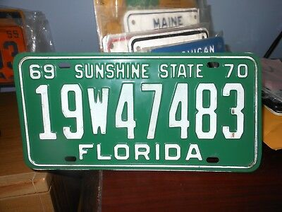 Florida 1969-70 automobile license plate issued in Brevard County