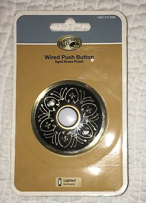 Hampton Bay Wired Lighted Door Bell Aged Brass Finish Solid Metal NEW