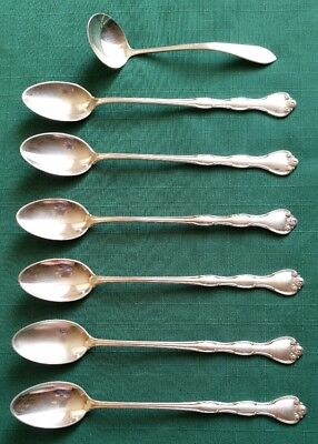 """Vintage Antique GORHAM STERLING Silver RONDO 7.5"""" Iced Tea 6 Spoons + Sauce Boat"""