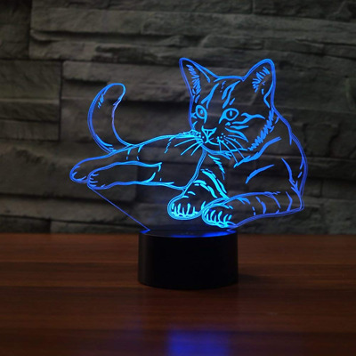 Cat 3D Lamp Decorations Illusion Night Light, Layoo 7 Color Changing Touch