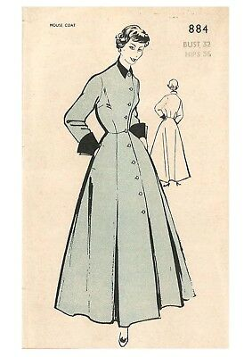 """Vintage 1950's Sewing Pattern Women's House Coat Robe Dressing Gown Bust 32"""""""