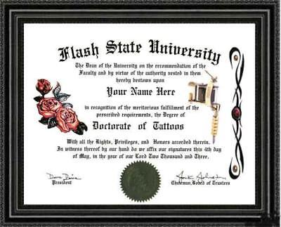 Tattoo Lover's Doctorate Diploma / Degree Custom made & Designed for you UNIQUE