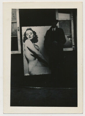 FACELESS SHADOW MAN by NUDE PINUP ART SIGN vtg 30's MYSTERY NOIR photo UNUSUAL