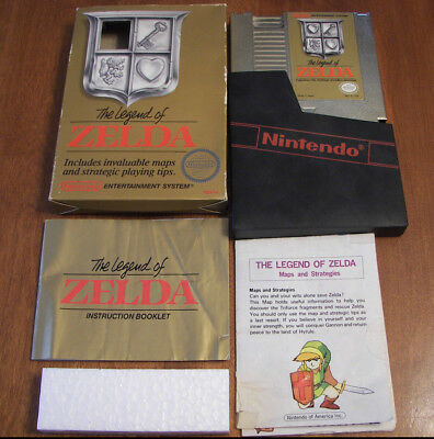 cib gold The Legend of Zelda complete in box original nintendo nes game with MAP