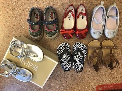 Lot Of 6 Pairs Of Toddler Girls Size 5 And 6 Shoes Michael Kors, See Kai Run