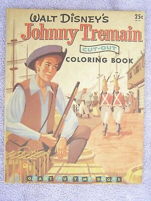 VINTAGE WALT DISNEY'S JOHNNY TREMAIN Cut-out COLORING BOOK 1957