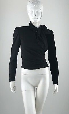Ungaro Ter Paris Black Sash Neck Top Wrap Ruched Size 38 / 4 Vtg