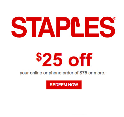 Staples Coupon $25 off $75 EXP 8/20