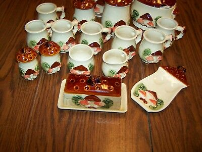 Vintage Mushroom Cannisters, Cups, Butter Dish, Spoon Rest