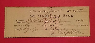 St. Michaels Bank Maryland MD old check 1933 Talbot County C&P Telephone Co.