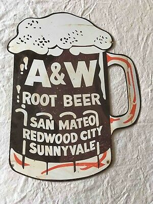 Vintage Tin A&W Root Beer Drive Ins Restaurant Norther Calif S.F. Bay Area Sign