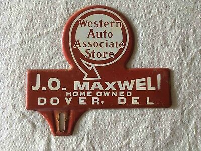 Vintage Western Auto General Store in Dover Delaware Ad License Plate Topper