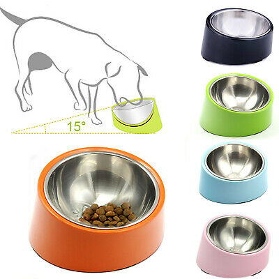Dog Bowl Stainless Steel 15 Degree Slanted Raised Tilted Bowl Cat Food Feeders