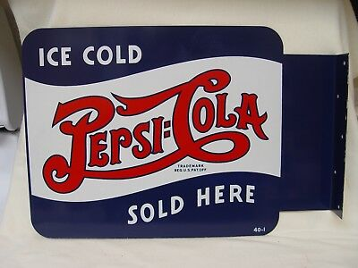 Vintage NOS Pepsi-Cola Double Dot Logo 2-Sided Advertising Flange Sign 40-1 Soda