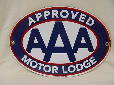 """AAA Automobile Association Approved Motor Lodge Porcelain Advertising Sign 10"""""""