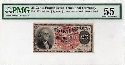 Fractional Currency Fr.1302 Fourth Issue  25 cents.PMG-55