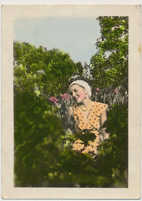 BEAUTIFUL LIPSTICK WOMAN SITTING in GARDEN 1930's LOVELY HAND COLOR TINTED photo