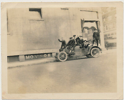DAPPER COLLEGE MEN PILE UP on OLD RACE CAR vtg 1920's SNAPSHOT photo GAY INT