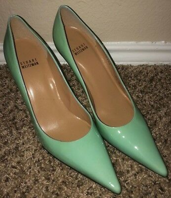 Stuart Weitzman Teal Patent Leather Pointed Toe Pumps 8.5 M