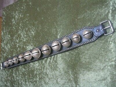 11 Antique Brass Graduated Embossed Numbered Horse Sleigh Bells