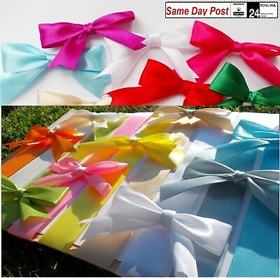 Bows large 8cm wide self-adhesive 20 COLORS satin 25mm gift packaging craft