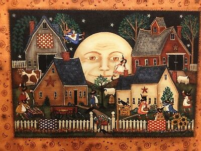 9 New England Prim Folk Art Witches Village Scene, Plant Sale Fine Art Print