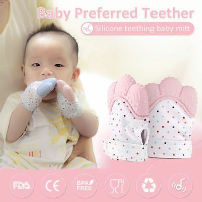 AU Baby Silicone Mitts Teething Mitten Teething Glove Candy Wrapper Soft Teether
