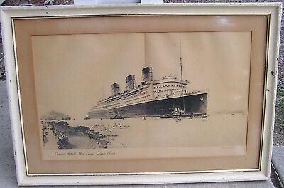 Beautiful Rendering Of Rms Queen Mary Cunard White Star  By Artist Frank K Mason