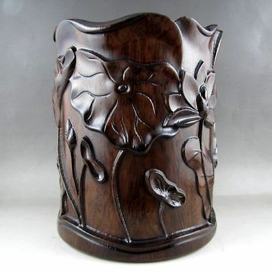 Beautiful Chinese old Unique HuaLi Wood natural Carved Brush Pot e01