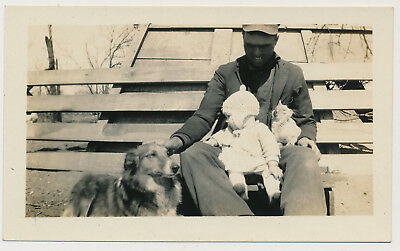 PROUD FARMER MAN DAD w BABY & DOG CAT vtg 20's FAMILY PETS SNAPSHOT photo