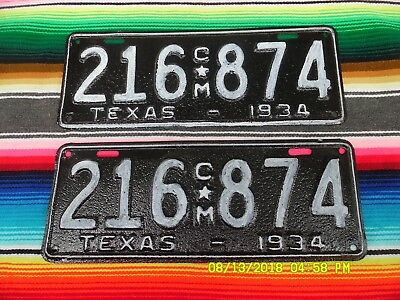 1934  Texas    Truck    License  Plates  216874