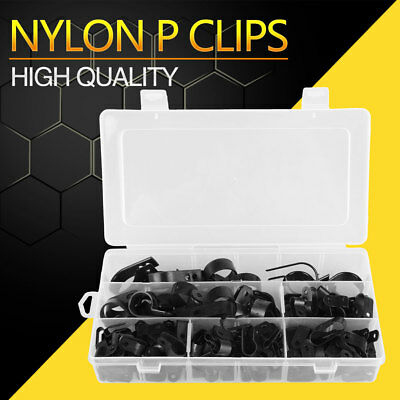 200Pcs Nylon Plastic Lined P Clip Cable Mounting Hose Wire Cable Pipe Clamp Set
