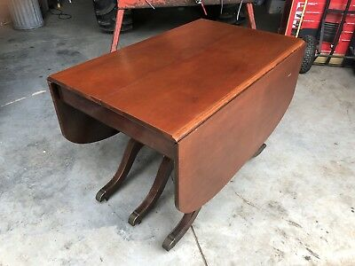 Vintage Duncan Phyfe Drop Leaf Table with 6 Chairs