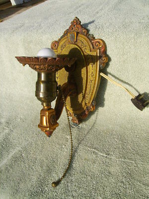 antique riddle wall light lamp art deco sconce wired works