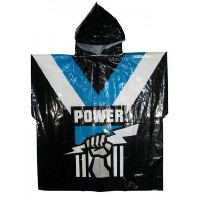 Port Adelaide Power Official AFL Full Print Logo Plastic Poncho with Hood