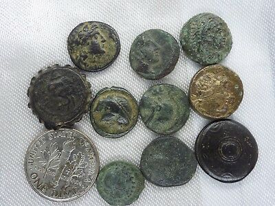 29m-1 LOT of 10pcs.ANCIENT Greek Bronze coins from 300 BC -100 AD