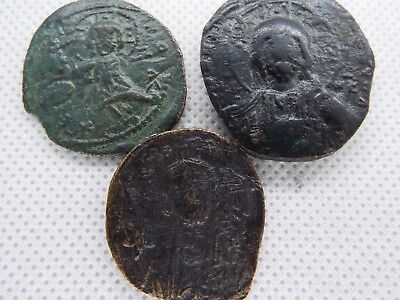 57-2 lot 3pcs Anonymous Follis - Ancient Byzantine Bronze Coin JESUS CHRIST