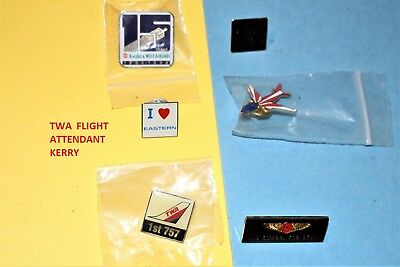 6 Emirates Twa 757 Fly Bell Wings Eastern America West Airlines Hat Pin Set Lot