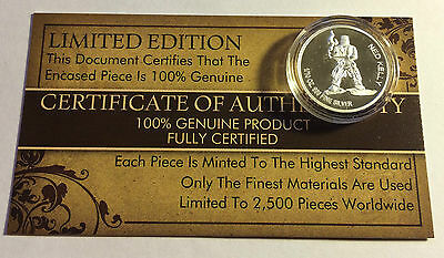 """New 2014 Certified """"NED KELLY"""" 1/10th OZ 999.0 Pure Silver Proof Coin"""