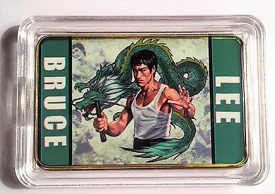 """BRUCE LEE""  Martial Arts Colour Printed 999 24k Gold Plated Ingot/token #22"