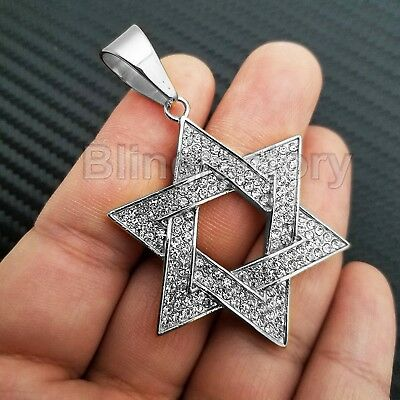 Hip Hop Iced Out Stainless Steel White Gold Pt Bling Star Of David Pendant