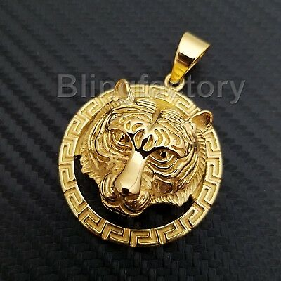 Hip Hop Iced Out Stainless Steel Gold Plated Bling Tiger Head Pendant