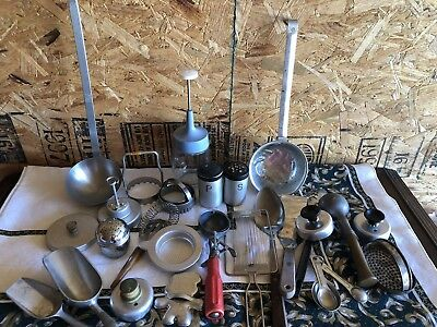 HUGE lot of vintage kitchen items.aluminum, stainless. Antique utensils