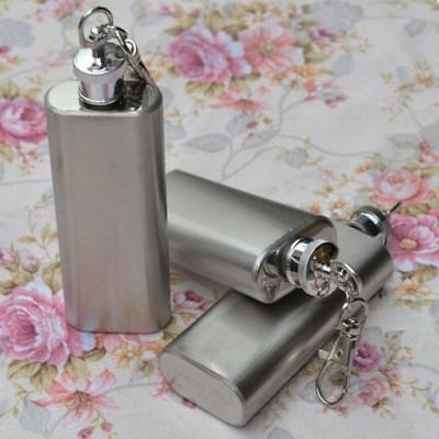 2oz Mini Portable Stainless Steel Hip Flasks Alcohol Flagon with Keychain Silver