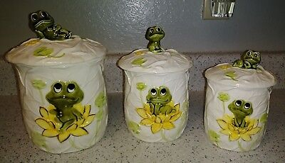 """Vintage Set of (3) 1977 Sears & Roebuck Neil The Frog Canister Set 9"""" 8"""" 6.5"""""""