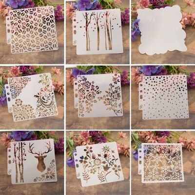 9x Reusable Painting Stencil Airbrush DIY Home Decor Scrapbooking Album Crafts